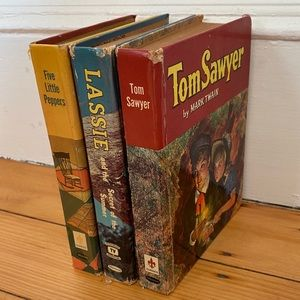 3 Vtg Books Tom Sawyer Lassie Five Little Peppers